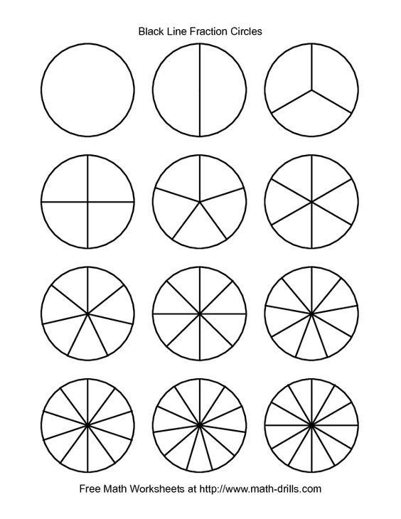 Fractions Worksheet -- Blackline Fraction Circles -- Small ...