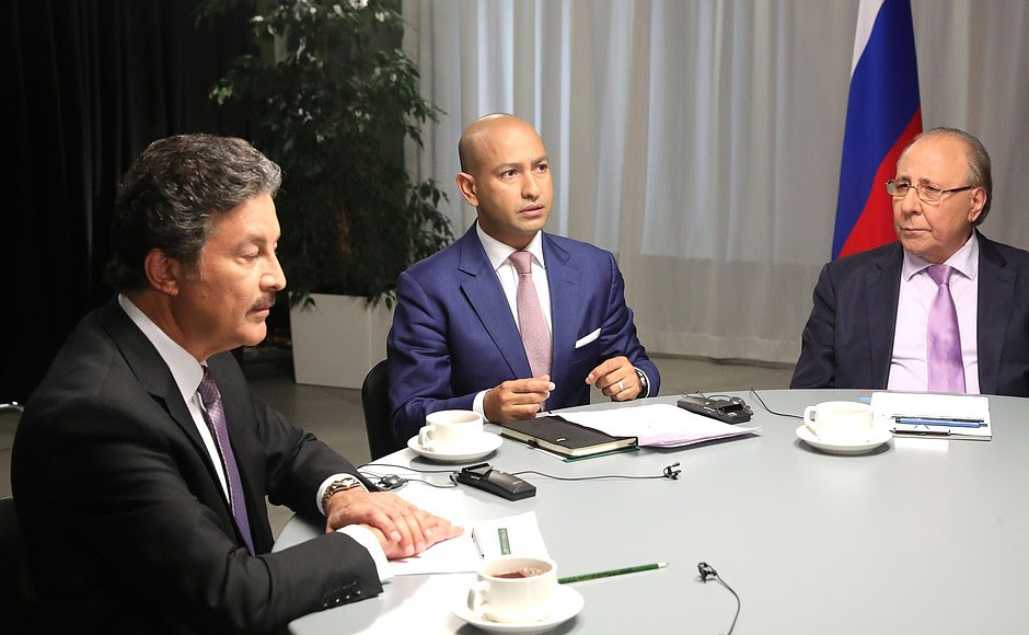 In advance of his visit to the Kingdom of Saudi Arabia and the United Arab Emirates Vladimir Putin answered questions from Al Arabiya senior presenter Mohammed Tomaihi (centre), Sky News Arabia senior presenter Mohannad Khatib (left) and RT Arabic Public and Political Programmes Department Head Salam Musafir.