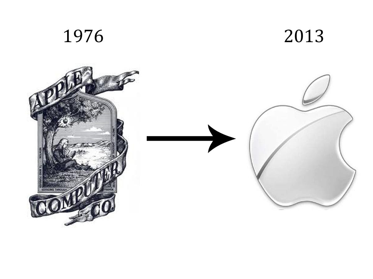 Apple's original logo, co-designed by Steve Jobs, depicted Sir Isaac Newton seconds away from revelation. It was complex to the point of being hard to look at, hence a quick switch (in 1976) to the beloved rainbow apple and the evolution to today's sleek design.