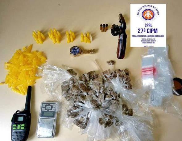 Arma de fogo e drogas são apreendidas no bairro Areal, em Cruz das Almas
