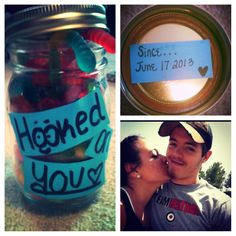 gift I made for my boyfriend. A jar full of gummy worms since our ...