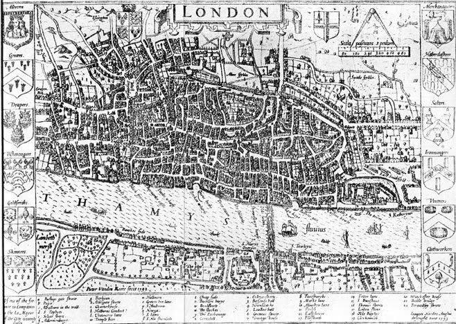 John Norden's London map. (1593)