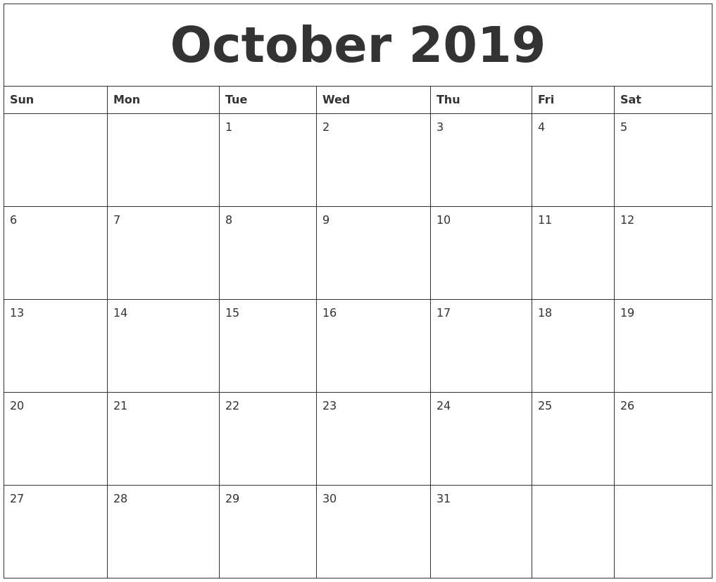 october 2019 free printable monthly calendar