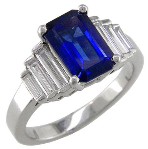 Sapphire Diamond Ring Baguette   Wedding, Promise, Diamond