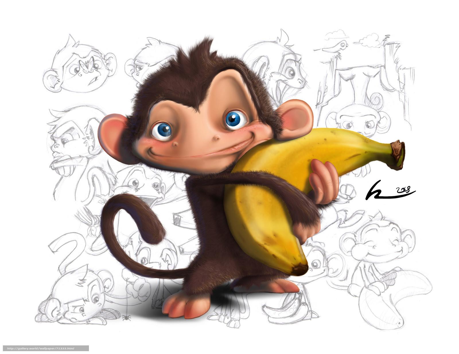 Scaricare Gli Sfondi Carta Da Parati Per Bambini Scimmia Banana