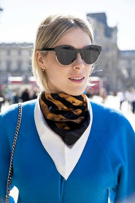 Le Fashion Blog Dior Sunglasses Delicate Earrings Layered Neck Scarves Bright Blue Top Chain Strap Bag Via The Outfit