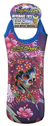 Ed Hardy Designs By Christian Audigier Neoprene One-Bottle Wine Beverage Tote (Tattoo Skull Flowers)