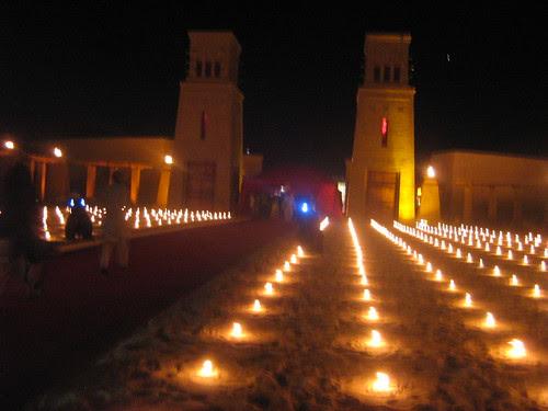 Candles lighting up the desert at the Dubai Film Fest closing ceremony