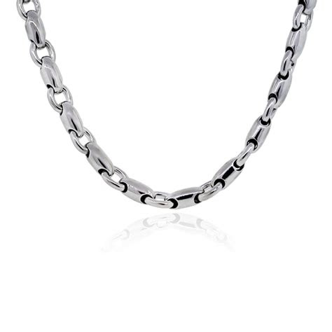 white gold barrel chain link mens necklace boca raton