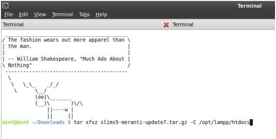sudo tar xfvz slims5-meranti-update7.tar.gz -C /opt/lampp/htdocs