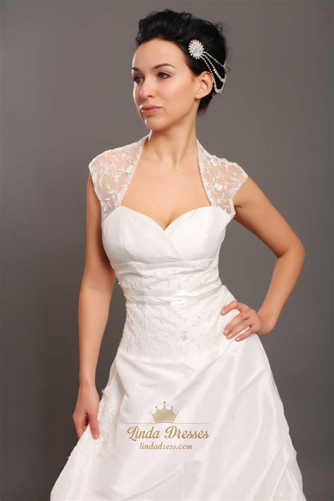 Ivory Taffeta Open Back Cap Sleeve Wedding Dress With