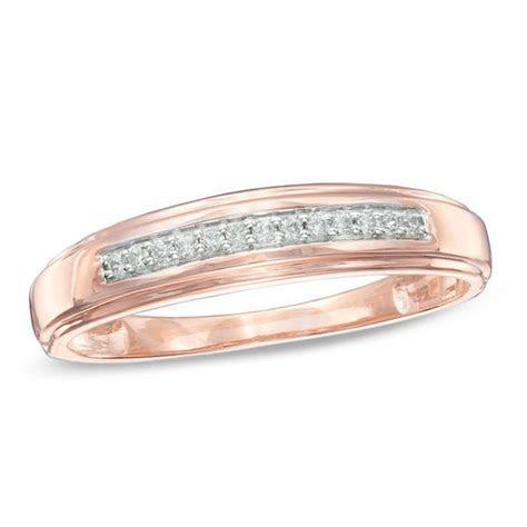 Men's 1/10 CT. T.W. Diamond Wedding Band in 10K Rose Gold