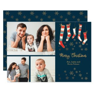 Merry Christmas Stockings Multi Photo Holiday Card