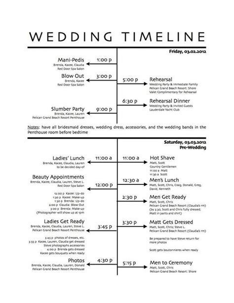wedding timeline master schedule. adjust accordingly for