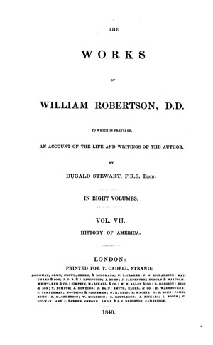 The Works Of William Robertson Vol 7 The History Of