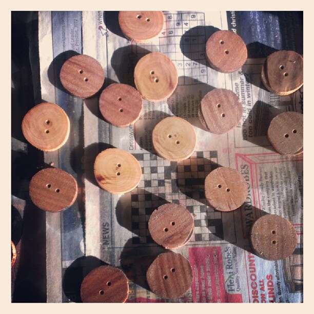 Learning to make wooden buttons. As g says, nothing is as easy as you think.