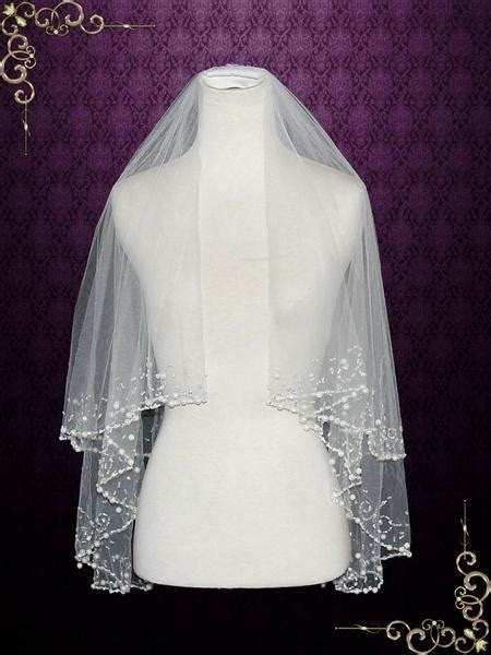 Two Tier Ivory Elbow Length Veil with Pearl Beadings