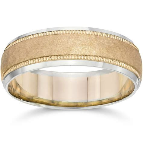 Hammered Two Tone 6mm Mens 14K White & Yellow Gold Wedding