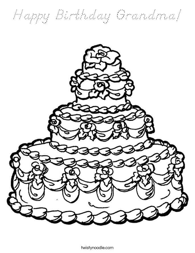 Happy Birthday Grandma Coloring Page - D'Nealian - Twisty ...