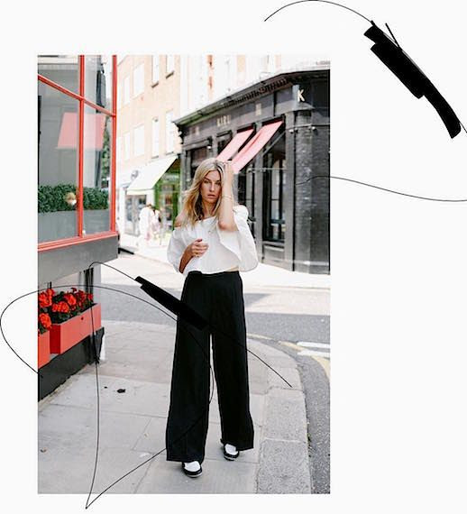 Le Fashion Blog White Off Shoulder Blouse Wide Leg Black Pants White And Black Loafers Via @ Camille Charriere