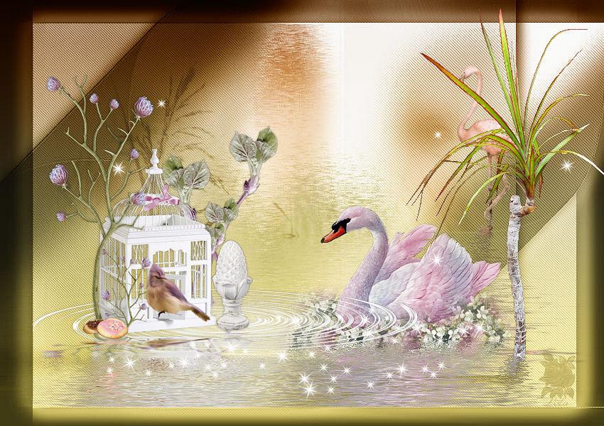 Bird Swan Pink Flowers