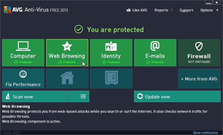 إصدار جديد من برنامج مكافحة الفيروسات والبرامج الضارة AVG AntiVirus Free 2013 v13.0.3343