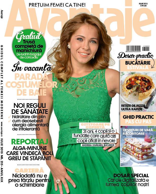 Revista Avantaje ~~ Coperta: Andreea Ogararu ~~ Iulie 2013