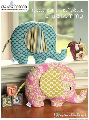 Retro Mama: elephant softies sewing pattern