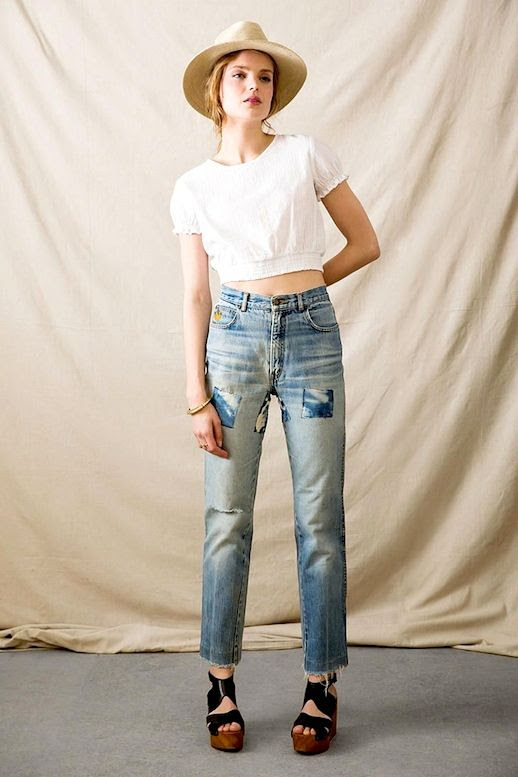 Le Fashion Blog Retro Style Straw Hat White Crop Top Vintage Patchwork Jeans Wedge Sandals Via Urban Outfitters