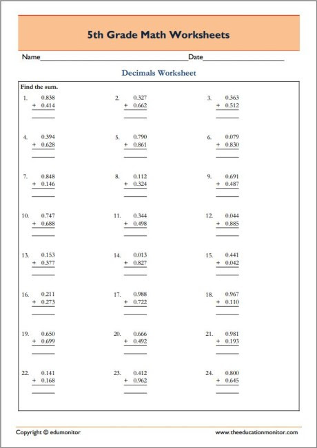 Fifth Grade Math Worksheets In Pdf Free Math Printables
