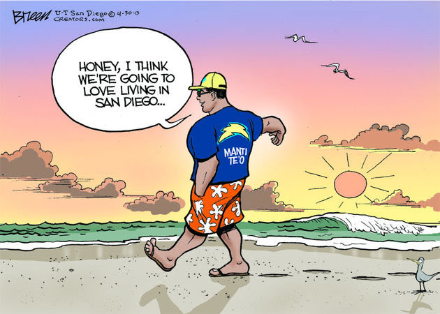Love this little gem the San Diego Union-Tribune used on Te'o. I hope they don't let his GF see this...