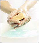 Photo: Washing hands with soap and water.