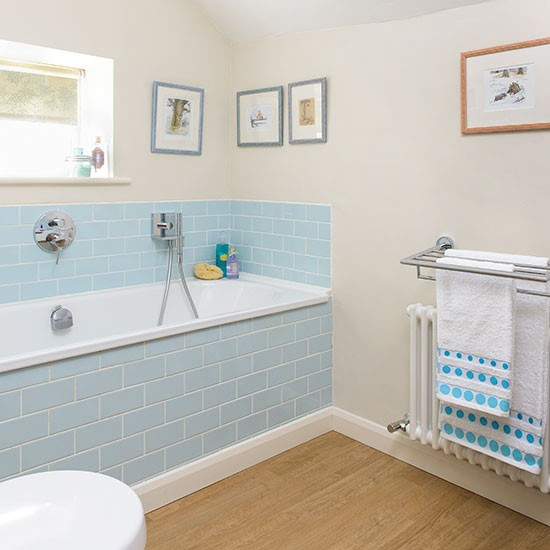Bathroom with blue tiles and vinyl flooring | Decorating ...