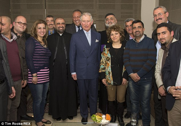 Prince Charles met with a group of Iraqi Christians who sought refuge in Jordan having fled from Iraq