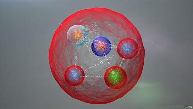 Uma ilustração de uma configuração possível de quarks em uma partícula pentaquark  (Foto: CERN/BBC)