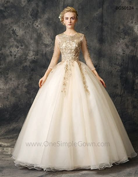 Champagne Gold Elegant Lace Ball Gown Wedding Dress