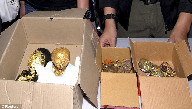 Grim haul: The remains of six foetuses which are believed to be destined for Taiwan. They were bought for £4,000 and could have been sold for six times that