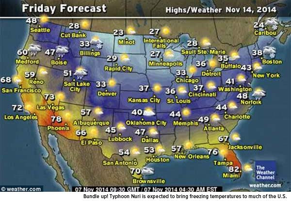 Bundle up! Typhoon Nuri is expected to bring freezing temperatures to much of the U.S.