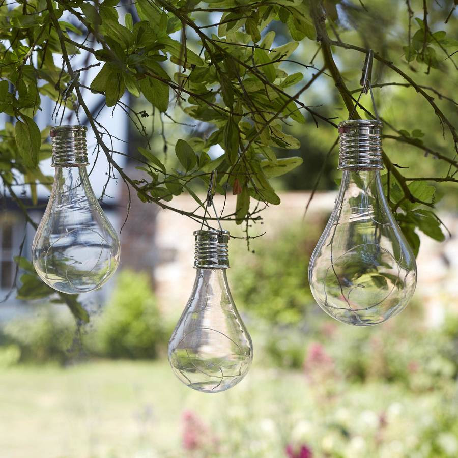 set of six solar lightbulb hanging garden lights by london garden trading  notonthehighstreet.com