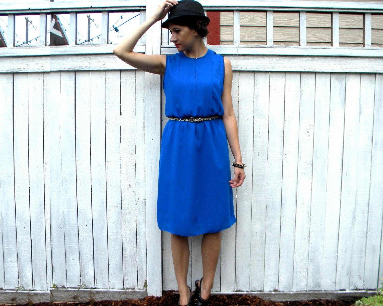 80s Bright Royal Blue Pleated Dress, Sleeveless Party Dress, Medium - charlialana
