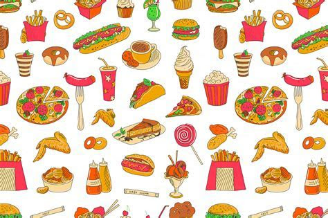 Colored hand drawn fast food patte ~ Patterns on Creative