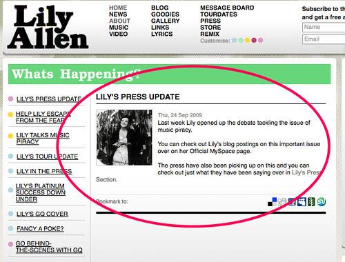 Lily Allen - press update (