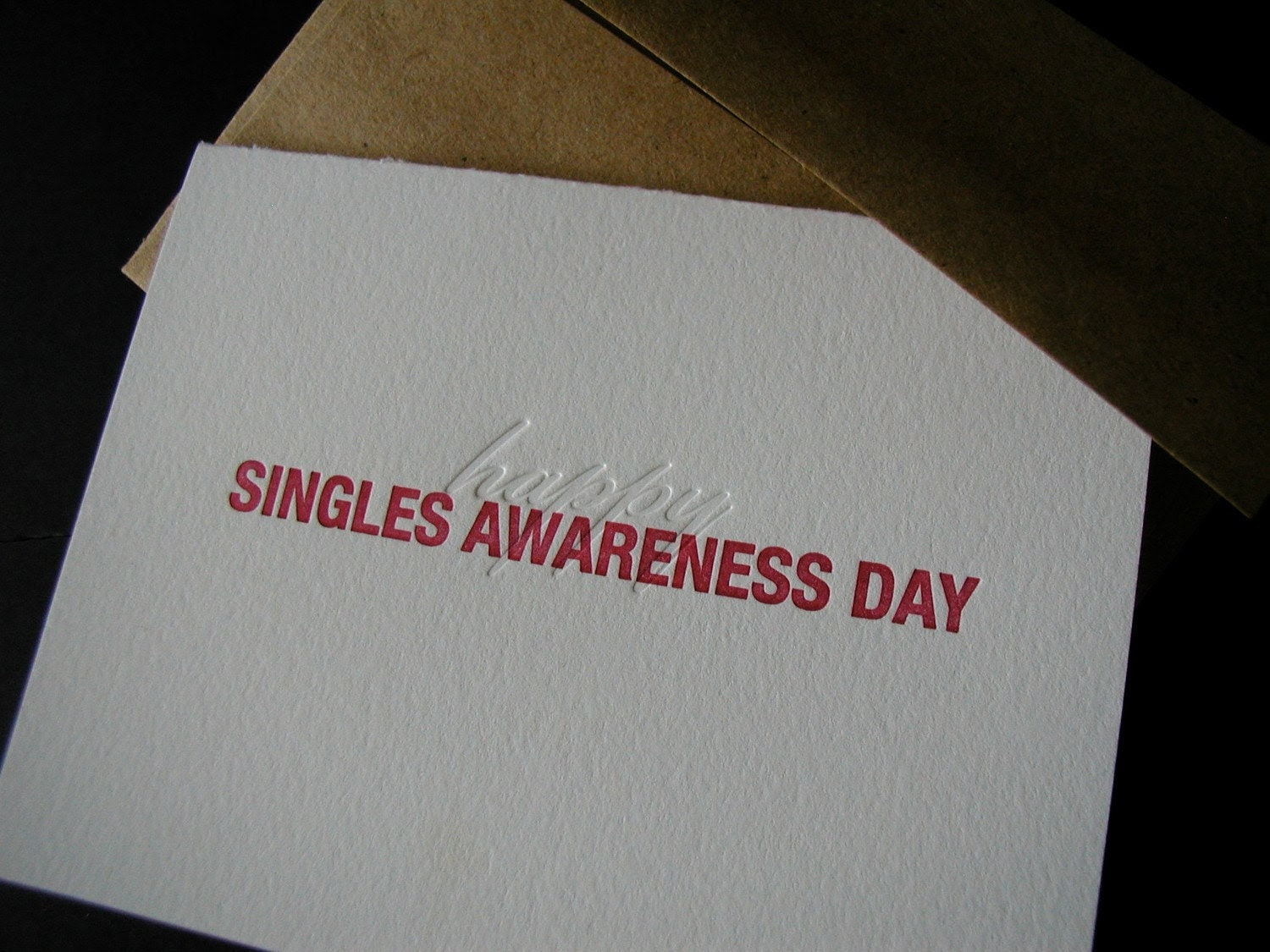 letterpress singles awareness day valentine card funny snarky