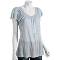 T Luxury sky speckled scoopneck ruched tunic