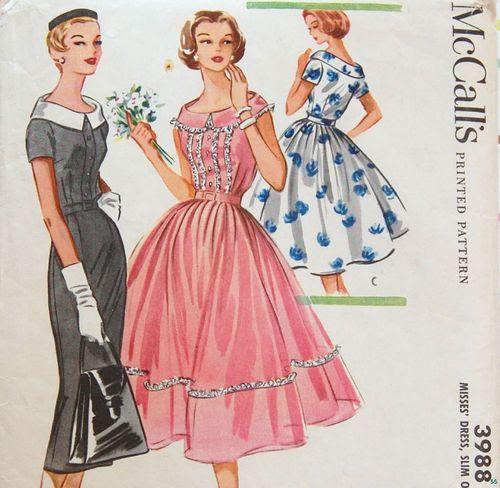Vintage Pattern 1950's MAD MEN DRESS - McCalls 3988