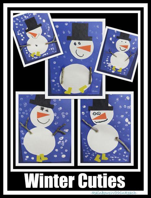 Winter Cutie Snowmen with Sticks for Arms via RainbowsWithinReach