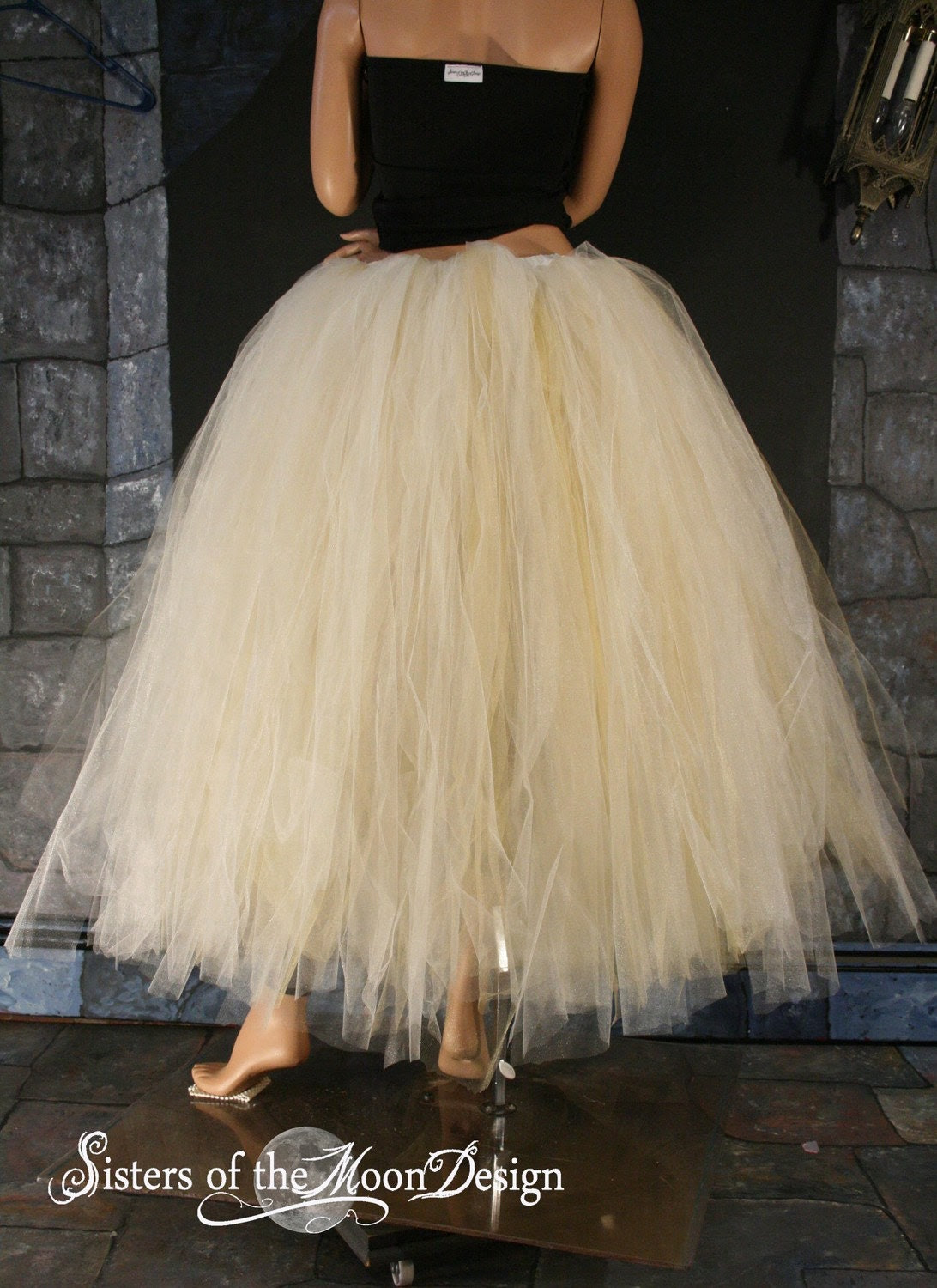 Bridal Glimmer floor length tutu skirt Streamer formal Ivory and Gold adult --You Choose Size -- Sisters of the Moon