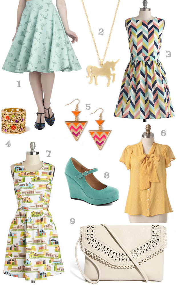 blog wanderlust whimsy megan wishlist shopping asos modcloth forever 21 ruche dress ring necklace unicorn chevron