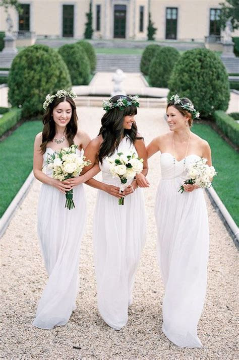 white wedding trends   White bridesmaid dresses