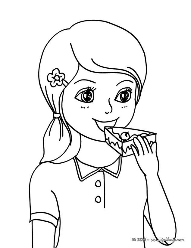 Dibujos Para Colorear Niña Comiendo Pastel De Cumpleaños Es
